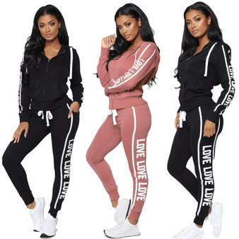 QueenLine Women Tracksuit Two Piece Set Sexy Zipper Hoodies Tops + Trousers LOVE Letter Printed Sportwear Female Casual Outfits
