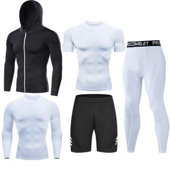 QueenLine Men's Compression Running Set Tight Legging Shirt Pant Long Sleeves Sport Clothing Teenager Tracksuit Suit Man Sportwear Dry Fit