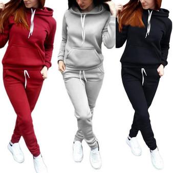 QueenLine Women's Hooded Sports Suits Sexy Sportswear 2 Piece Set Sportswear Jogging Tracksuit For Women