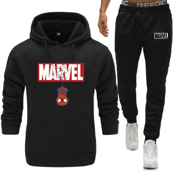 QueenLine New Mens Spiderman marvel Running Sportswear Suits Gym Fitness Training Coat Hoodies Pants Sets Male Jogging Sports Tracksuit
