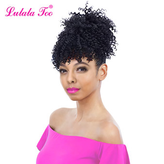 QueenLine 6inch Synthetic Kinky Curly Drawstring Pineapple Ponytail Wig Fake Hair Bun  Chignon Bangs Clip in Pony Tail Hair Extension