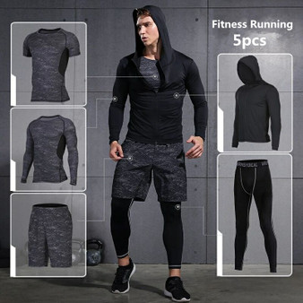 QueenLine Sports Suits Mens Gym Running Suit Fitness Tracksuit Running Sets Compression Tights Workout Sportswear Jogging Suit