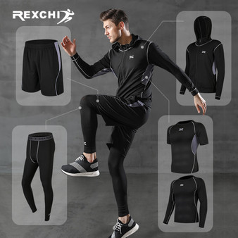 QueenLine 5 Pcs/Set Men's Tracksuit Gym Fitness Compression Sports Suit Clothes Running Jogging Sport Wear Exercise Workout Tights