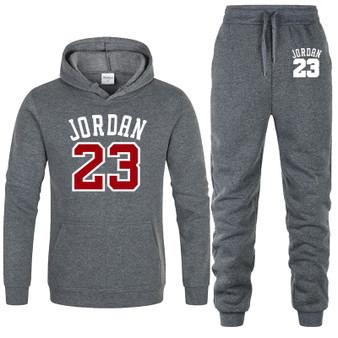 QueenLine New 2020 hoodies suit basketball 23 tracksuit sweatshirt fleece hooded suit+sweat pants jogging homme pullover 3xl male men set