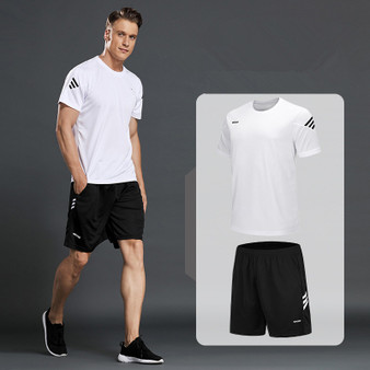 QueenLine New Men Sportswear T-shirts Running Suits Mens Casual shirts+Sports Shorts Fitness Gym Jogging Suits Sportsman Wear Large Size