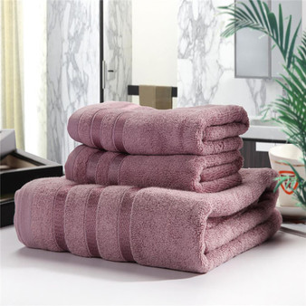 QueenLine  3pcs a Set Soft Cotton Bath Towels For Adults Absorbent Terry Luxury Hand Bath Beach Face Sheet Women Basic Towels JWYYJ30