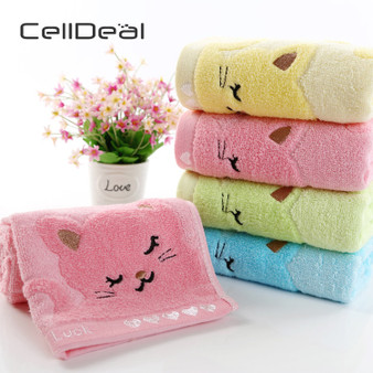 QueenLine  Cute Cat Child Towel Bamboo Fiber Towel Cotton Towel Strong Water Absorbing Microfiber 25*50 cm For Home Bathing Shower Towel