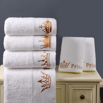QueenLine  Quality 100% Cotton White 5-Star Hotel Towel Home Set Embroidered Luxury Crown Bath Towels for Adults Absorbent Face Towel