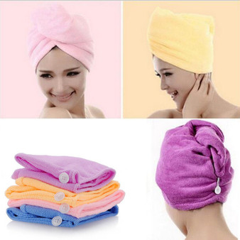QueenLine  White Coral Velvet Dry Hair Bath Towel Microfiber Quick Drying Turban Super Absorbent Women Hair Cap Wrap with Button thicken