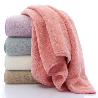 QueenLine  35*75cm Dry Hair Water Absorbent Double-sided Coral Velvet Microfiber Towel Bath Car Washing Cleaning Salon Swimming Camping