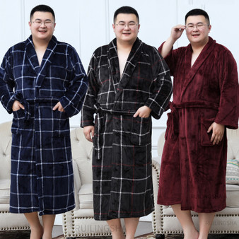 QueenLine  Men Plus Size Warm Flannel Bathrobe 40-130 KG Men Winter Coral Fleece Bath Robe Night Sleepwear Women Dressing Gown Cozy Robes