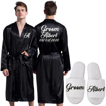 QueenLine Groom Robe Emulation Silk Soft Home Bathrobe Nightgown For Men Kimono Customized Name and Date Personalized for Wedding Party