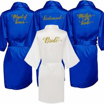 QueenLine Satin Silk Robes Plus Size Wedding Bathrobe Bride Bridesmaid Mother Maid of Honor Gown Women Clothing Sleepwear Royal blue