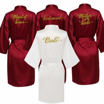 QueenLine  sexy Burgundy robe bride kimono satin robe women Bathrobe wedding robe sister mother of the bride groom bridesmaid robes