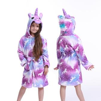 QueenLine  Children Bath Robe Baby Towel Children's star Unicorn Hooded Bathrobes For Boys Girls pajamas Kids Sleepwear Robe 3-11T