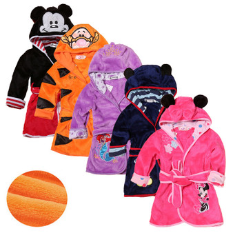 QueenLine  Cartoon Children's Robe Flannel Baby Bathrobe Long Sleeve Hooded Kids Bath Robe Lovely Animal Child Boy Girls Robes Kids Clothes