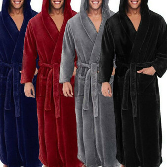 QueenLine Winter Thick Warm Bathrobe Men Coral Fleece Robe Nightgown Bath Gown Sleepwear Loose Soft Long Nightwea