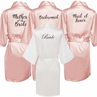 QueenLine new bride bridesmaid robe with white black letters mother sister of the bride wedding gift bathrobe kimono satin robes