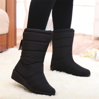 QueenLine  2020 Snow Boots Waterproof Ankle Boots For Women Boots Female Winter Shoes Women Booties Plush Warm Women Winter Boots Mujer