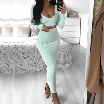 QueenLine Long Sleeve Crop Top Sexy Women Set Women V Neck Solid Bodycon Slim Maxi Skirt Women 2 Piece Set Elegant Outfits