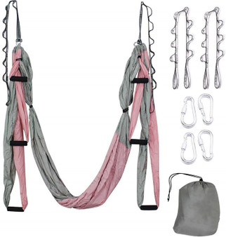QueenLine Aerial Yoga Hammock Set Antigravity Yoga Swing Ultra Strong for Air Yoga Inversion  Hanging  Exercises with 2 Extensions Straps