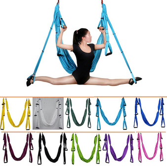 QueenLine 6 Handles Anti-gravity Yoga Hammock Swing Parachute Yoga Gym Hanging Outdoor Leisure Decompression Hammock