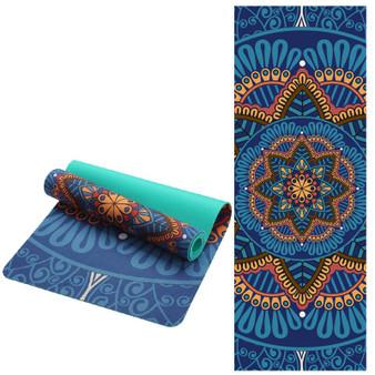 QueenLine 6 MM Lotus Pattern Suede TPE Yoga Mat Pad Non-slip Slimming Exercise Fitness Gymnastics Mat Body Building Esterilla Pilates