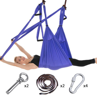 QueenLine Full Set 6 Handles Anti-gravity Aerial Yoga Ceiling Hammock Flying Swing Trapeze Yoga Inversion Device Home GYM Hanging Belt