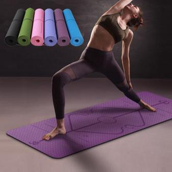 QueenLine 1830*610*6mm TPE Yoga Mat with Position Line Non Slip Carpet Mat For Beginner Environmental Fitness Gymnastics Mats