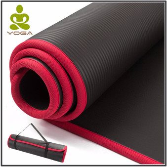 QueenLine  10MM Extra Thick 183cmX61cm High Quality NRB Non-slip Yoga Mats For Fitness Tasteless Pilates Gym Exercise Pads with Bandages