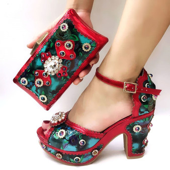 QueenLine Fashionable Design High Heels African Shoes and Bag Set Nigerian Shoes Women With Matching Bag Set For Ladies Wedding T45