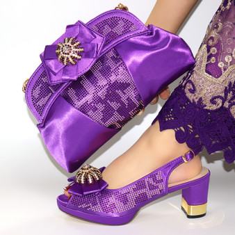 QueenLine beautiful Shoes and Bag Set African Sets 2020 purple Color Italian Shoe Bag Set Decorated with Rhinestone! SIM1-28