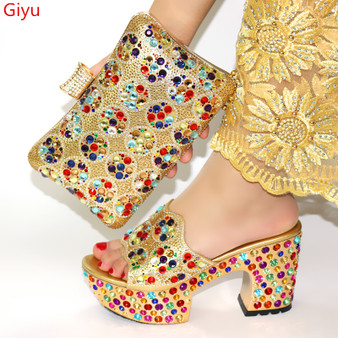 QueenLine African Shoes And Bag Matching Set With gold Hot Selling Women Italian Shoes And Bag Set For Party Wedding ! SWQ1-8