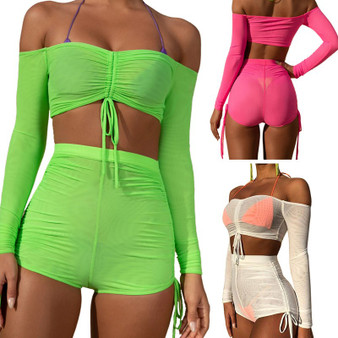 QueenLine  Off Shoulder 2 Piece Set Women Sheer Mesh Crop Top And Shorts Set Sweat Suits Sexy Beach Two Piece Outfits