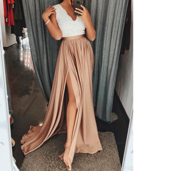 QueenLine Women Lady Hight Split Maxi Dress Pleated Beach Long Casual Party Dress Lace Splicing Sleeveless V Neck Sundress