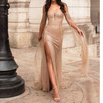QueenLine Floor Length Sleeve Celebrity Dress Hollow Out Off The Shoulder Evening Dress Split Leg Gold Glittered Boat Neck Maxi Dress