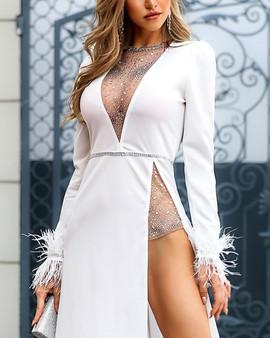 QueenLine Women Studded Embellished Long Dress Long Sleeve Deep V Neck Slit Maxi Night Club Party Dress