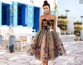 QueenLine Arabic Short Nude Cocktail Dresses 2020 Off Shoulder Bow A-Line Tea Length Modest Prom Party Evening Gowns Cheap Custom Made