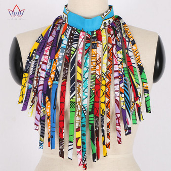 QueenLine African Style Women Fashion Necklace Handmade Long Tassel Statement Choker Necklace Cotton Wax Fabric Jewelry  WYA026