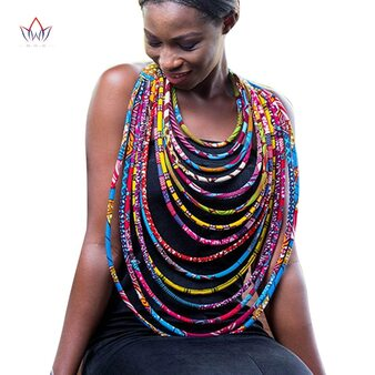 QueenLine 2020 Hot Sale African Ankara Handmade Multi-layered Rope Necklaces For Women African Style Statement Necklace For Gift SP027