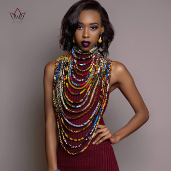 QueenLine 2020 Ankara Beautiful Multi Strand Necklace African Bold Colorful Long Exotic Jewelry Anfrica Handmade Necklaces WYB181