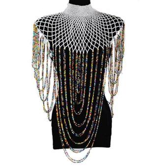 QueenLine Nigerian Bridal Jewelry Sets For Women Crystal Handmade African Beads Wedding Shoulder Zulu Jewelry Necklace Set 2019