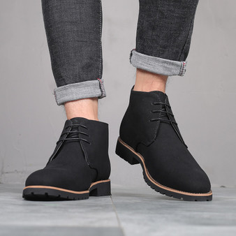 QueenLine Plus Size 38-48 Black Blue Brown Men Boots Solid Casual Leather Autumn Winter Ankle Boots Male Suede Leather Men Shoes