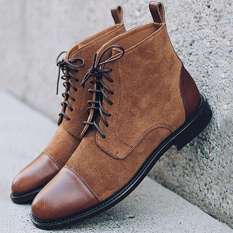 QueenLine Men Leather Formal Flat Shoes 2020 Lace Up Formal Ankle Boots Male Faux Suede Patchwork Boots Man Solid Derby Shoe