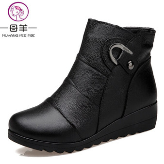 QueenLine  Women Boots 2019 Fashion Shoes Woman Genuine Leather Wedges Ankle Boots Winter Casual Snow Boots Women Shoes
