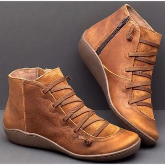 QueenLine Women Vintage PU Flat Zip Ankle Boots Ladies Cross Strappy Woman Shoes Female Women's Short Plush 2020 Autumn Winter Botas Mujer