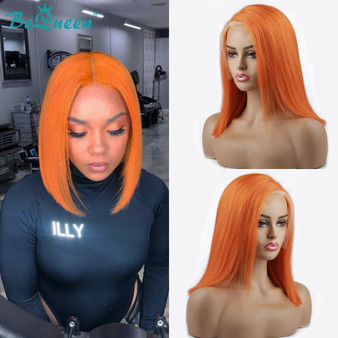 QueenLine Straight Bob Wig Lace Front Human Hair Wigs Short Bob Colored Human Hair Wigs 13x6 Lace Front Wig Green Red Orange Wig