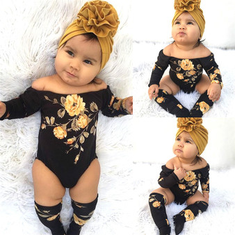 QueenLine 3PCS Newborn Baby Girl Off Shoulder Flower Romper+Leg Warmers Outfit Clothes Set