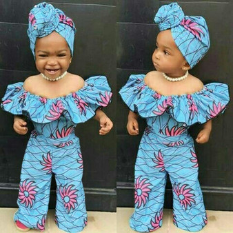 QueenLine Off Shoulder Baby Girls Romper Summer Dashiki African Style Print Romper For Toddler Baby Girls Clothes Jumpsuit+hairband 2020