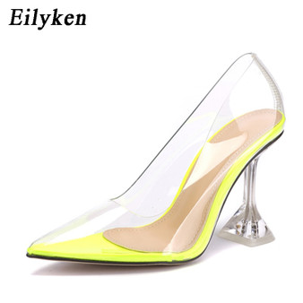 QueenLine  Clear PVC Transparent Pumps Sandals Strange Style Perspex Heel Point Toes Womens Party Shoes Nightclub Pumps 35-42